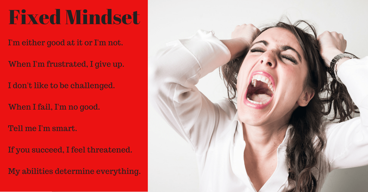 Image of fixed mindset that gets in the way of fitness and weight loss.