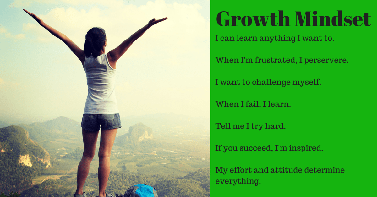This image of the growth mindset shows how it can lead to greater fitness and personal training success