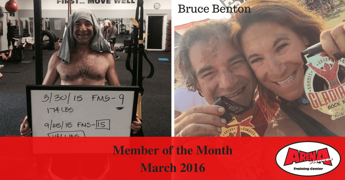 This is an image of personal training client Bruce Benton, the Arena Fitness Member of the Month